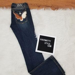 Miss Me Rare Bold Calf Hair Pocket Denim Jeans 29